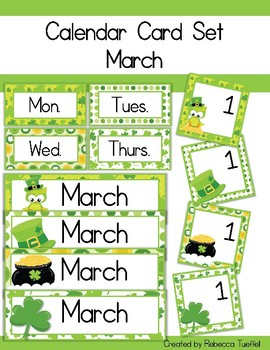 Calendar Card Set: March