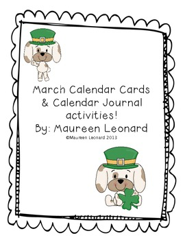 March Calendar Cards & Calendar Journal!!