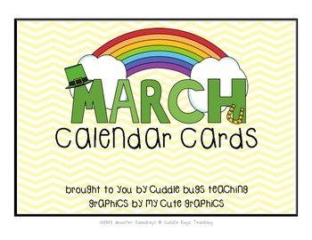March Calendar Cards - St. Patrick's Day Themed