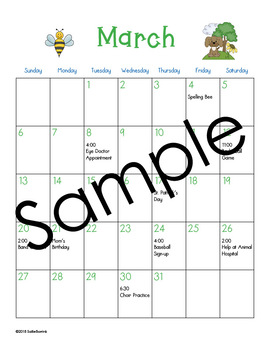 March Calendar Center Task Cards - Calendar Activity