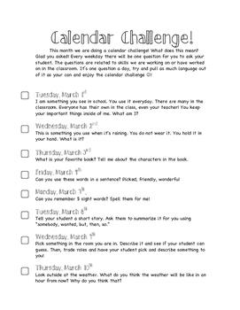 March Calendar Challenge!