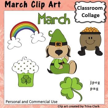 March Calendar Clip Art - Color - personal & commercial use