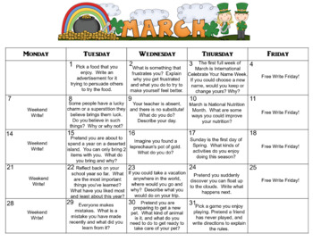 March Calendar Editable Journal Prompts
