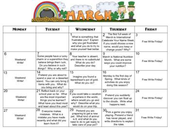 March Calendar Editable Journal Prompts