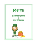 March Calendar Items & Certificates