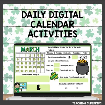 March Math Meeting Calendar Activities