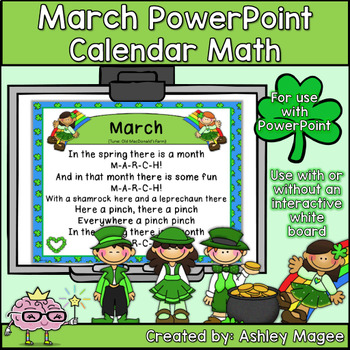 March Calendar Math - in PowerPoint - use with or without interactive board