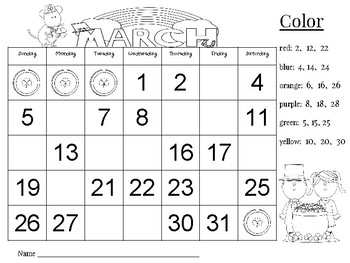 March Calendar Number Writing Practice