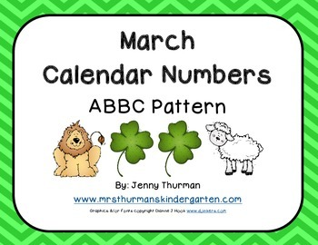 March Calendar Numbers ABBC Pattern