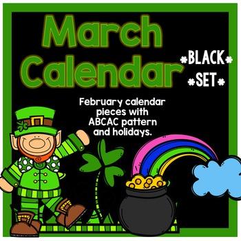 March Calendar Pieces - Black Set
