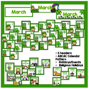 March Calendar Pieces - White Set