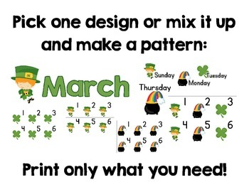 March Calendar Set:  March Headers, Days of the Week, and Number Cards
