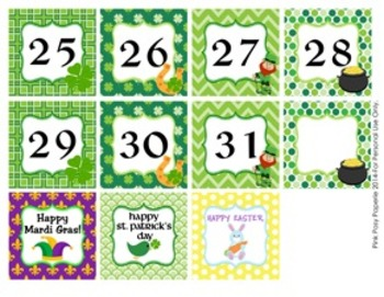 March Calendar Set - Numbers - Days of the Week