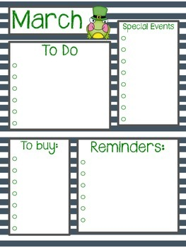 March Calendar & To Do List