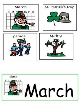 March Calendar Work/ March Vocabulary/ Autism