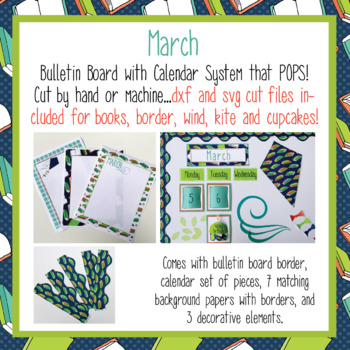 March Calendar and Bulletin Board set that pops with print and cut files