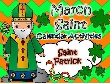 March Catholic Saint Calendar Activities - Saint Patrick