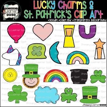 """""""UPDATED"""" Lucky Charms with New Unicorn & St. Patrick's Day Clip art; Color & BW"""