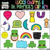"""UPDATED"" Lucky Charms with New Unicorn & St. Patrick's Day Clip art; Color & BW"