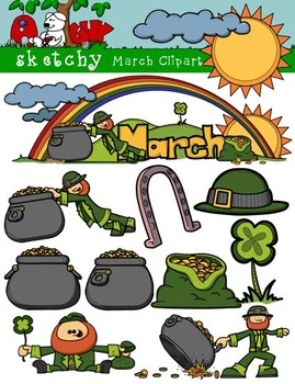 March Clipart / Graphics and Monthly Header