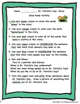 March: Close Reading, Comprehension, Fluency and Writing Activities