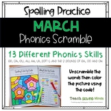 March Color by Code - Phonics Spelling Scramble