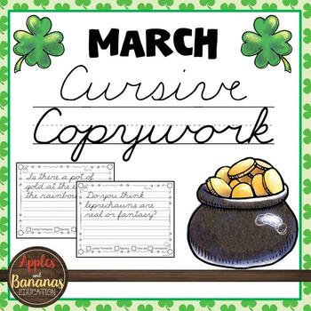 March Cursive Copywork - Cursive Handwriting Practice
