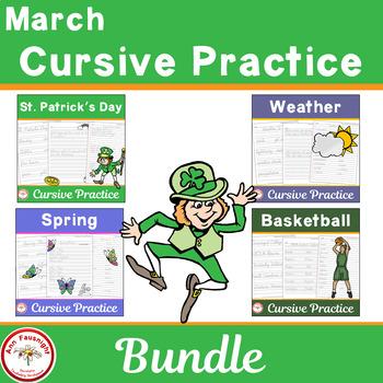 March Cursive Practice Bundle