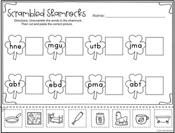 interactive march cut paste printables for kindergarten by color