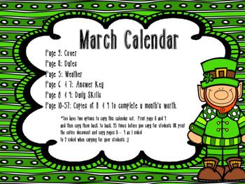 March Daily Calendar Activity Journal