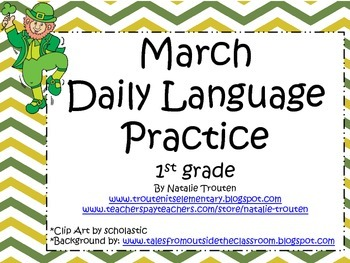 March Daily Language Practice and Assessment for 1st Grade