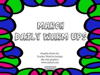 March Daily Warm Ups for Kindergarten