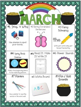 March Differentiated Literacy Center Word Work Menu (Common Core Aligned)