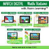 March Digital Math Stations l Task Cards | Boom Cards™