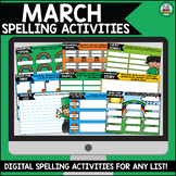 March Digital Spelling Activities for Word Work