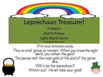March Dolch Primer Sight Word Game