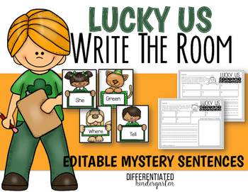 March EDITABLE Mystery Sentences/Questions Write The Room Fun-Differentiated