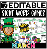 March Editable Sight Word Games (Kindergarten and 1st Grade)