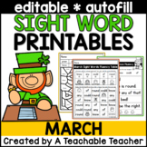 March Editable Sight Word Printables