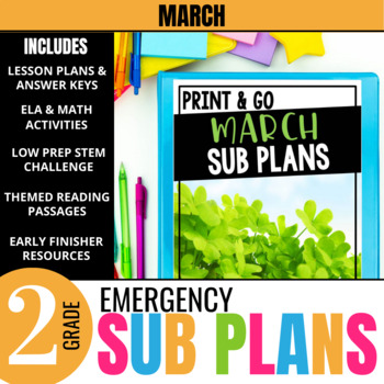March Emergency Sub Plans for 2nd Grade: Activities & Ready-to-go Lessons