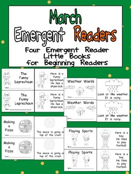 March Emergent Readers - A Book for Each Week- Weather, St. Patrick's Day