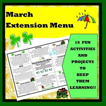March Extension Menu w Common Core Standards