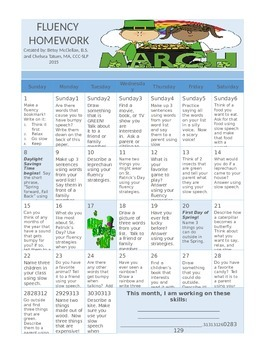 March FLUENCY Calendar!