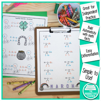 Addition and Subtraction Math Facts Worksheets: March