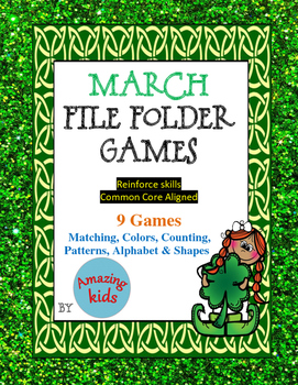 March File Folder Games - Math & Reading Skills