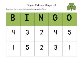 March Finger Pattern Bingo (Differentiated 1-5, 6-10, & 1-10)