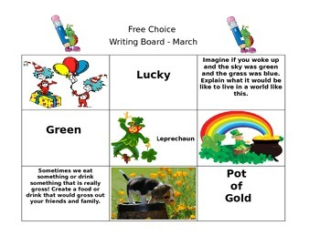 March Free Choice Writing Board