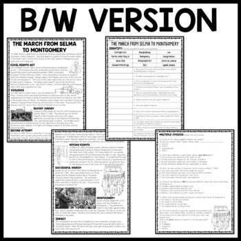 March From Selma to Montgomery Reading Comprehension Worksheet, Civil Rights