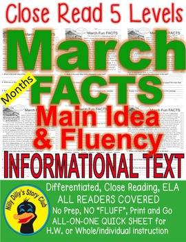 March Fun FACTS Close Read 5 Levels Differentiated Fluency, Main Idea, ELA List