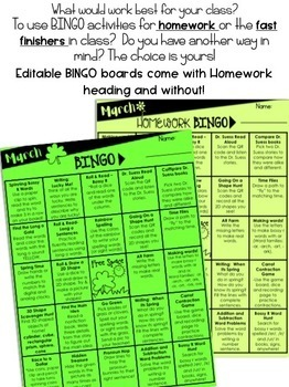March Homework Bingo > Printables for month & EDITABLE Bingo